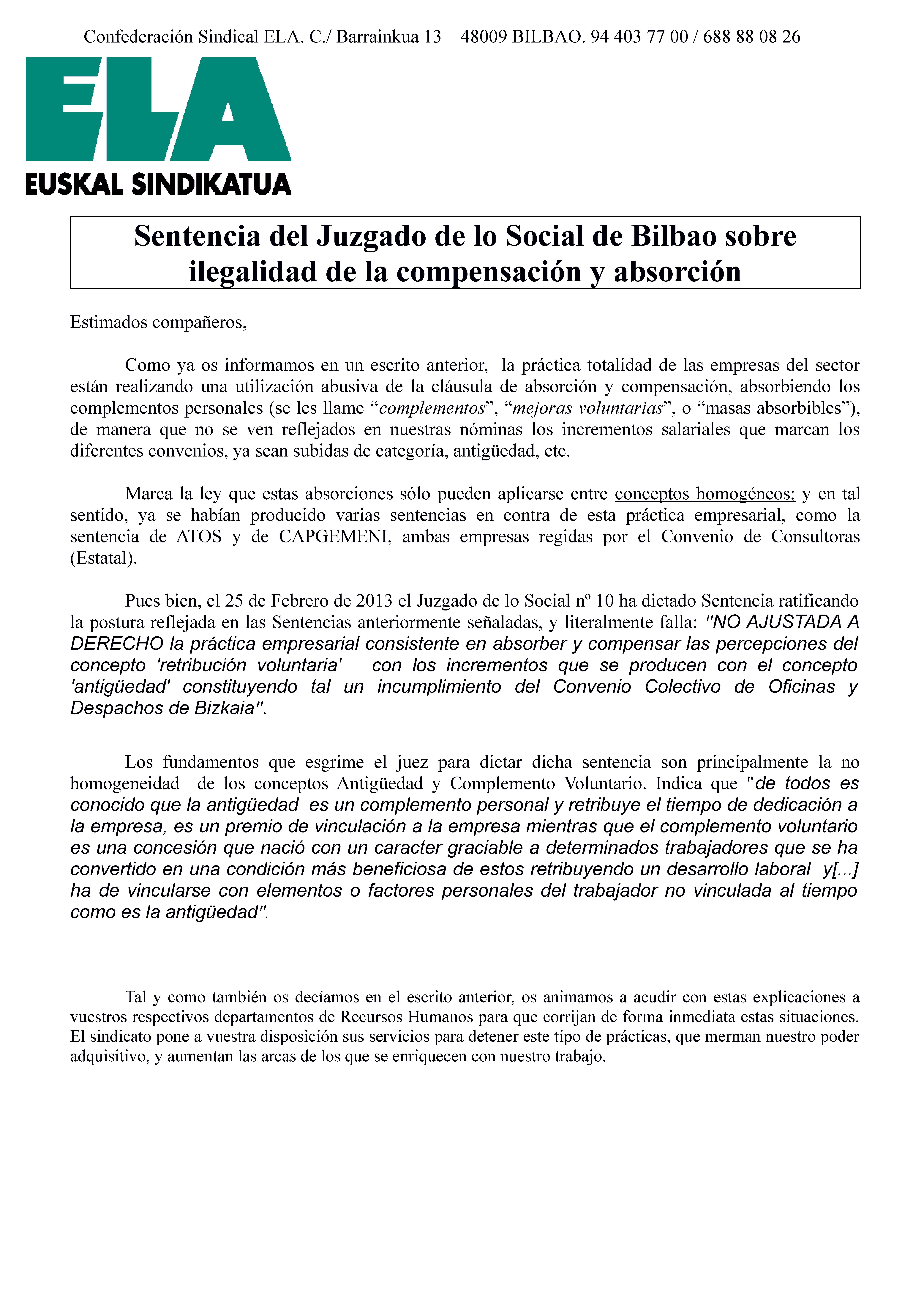 Comunicado ela 11 03 2013 sentencia contra absorci n y for Convenio colectivo oficinas y despachos pontevedra