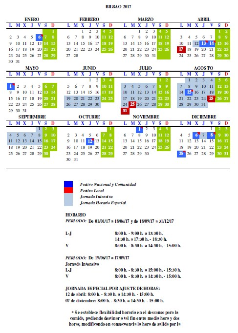 Calendario Laboral Bilbao.Comunicado 03 01 2017 Calendario Laboral 2017 Gfi Norte Ko